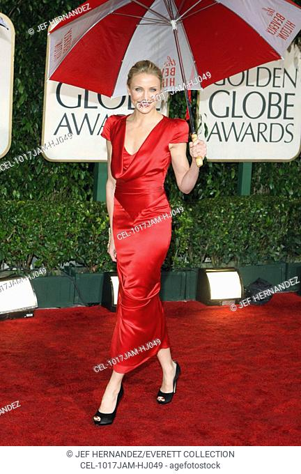 Cameron Diaz (wearing an Alexander McQueen dress) at arrivals for The 67th Annual Golden Globes Awards - ARRIVALS, Beverly Hilton Hotel, Beverly Hills