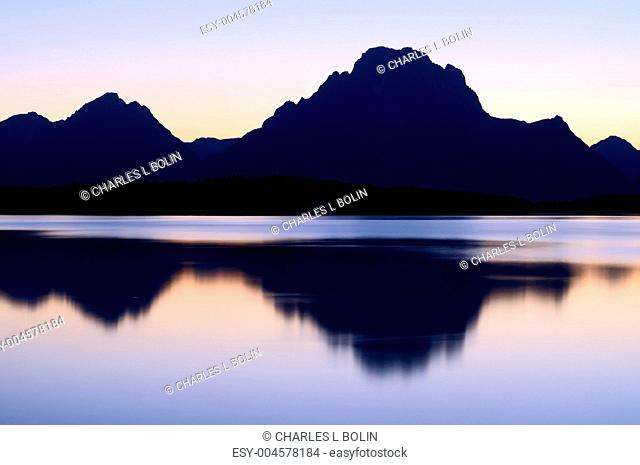 Mount Moran and Jackson Lake after sunset, Grand Teton National Park, Wyoming, USA