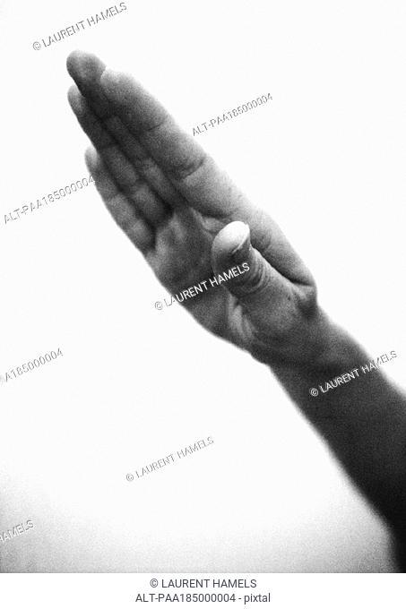 Hand making heil sign, close-up, b&w