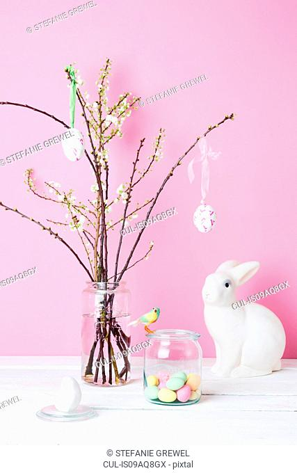 Still life of blossom twigs, Easter bunny and birds