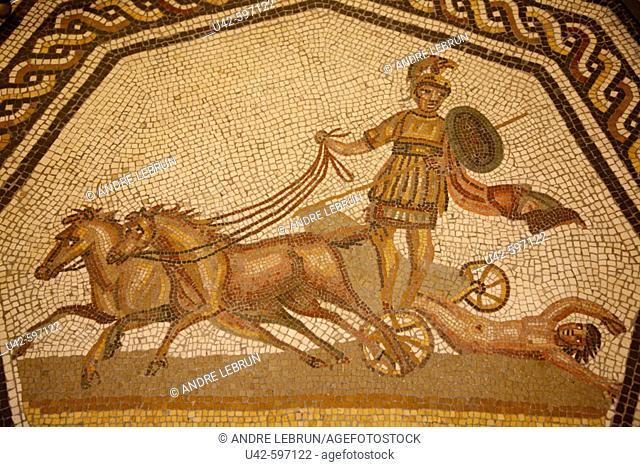 Mosiac floor showing 'Achilles draging Hector's body'.  Vatican Museum  2006. Rome. Lazio. Italy