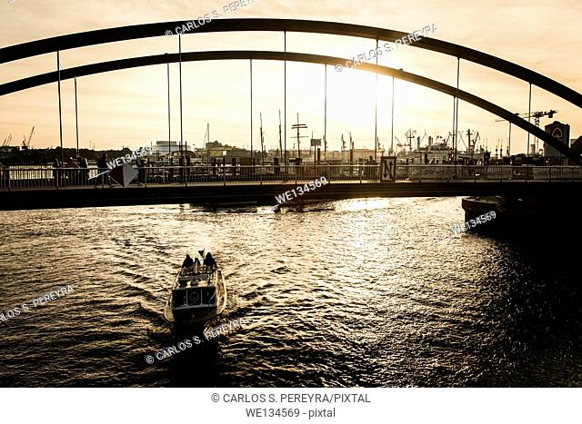 Hamburg harbor at sunset time, Germany, Eruope