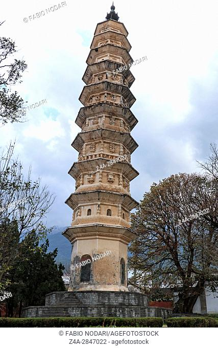 One of the Three Pagodas of Chongsheng Temple near Dali Old Town, Yunnan province, China