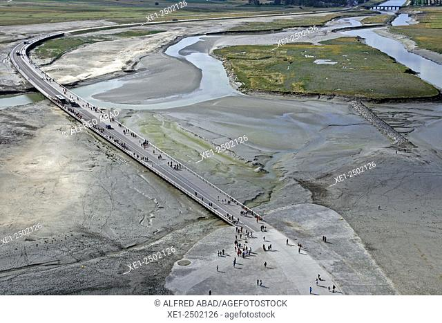 Access in low tide to the abbey of Mont Saint Michel, Normandy, France