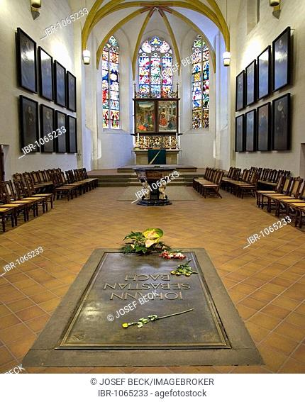 Tomb of Johann Sebastian Bach in the St. Thomas Church, Leipzig music trail, Leipzig, Saxony, Germany, Europe