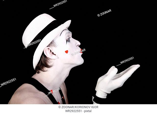 Portrait of a theater actor with mime makeup