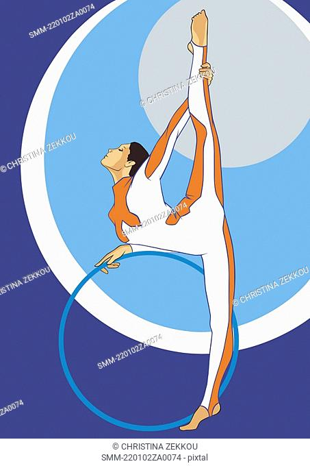 Gymnast with hoop