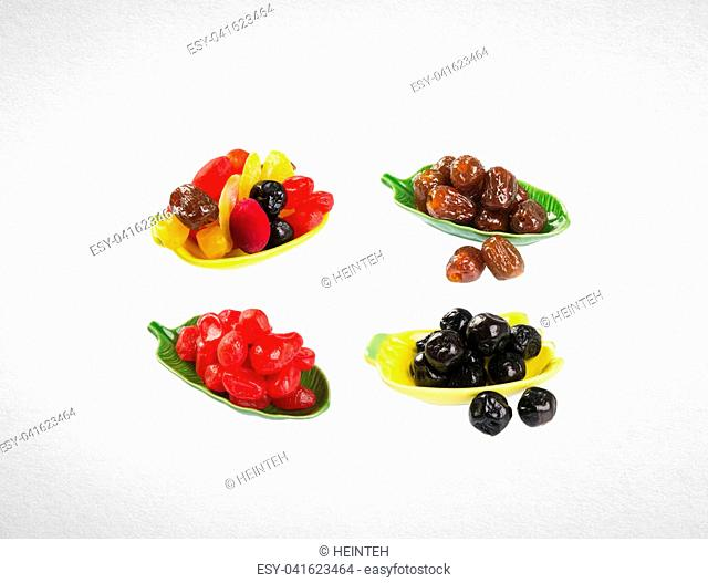 Dried fruits or assorted preserved fruits on background