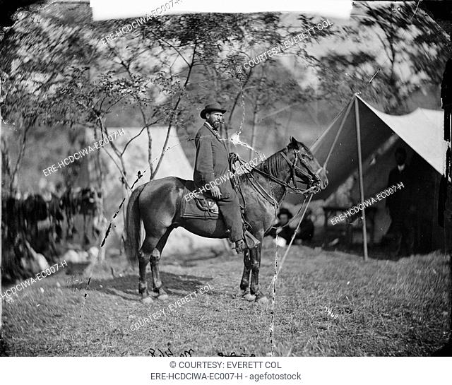 The Civil War, Antietam, Md. Allan Pinketon, E.J. Allen of the Secret Service, on horseback, photograph from the main eastern theater of the Civil War