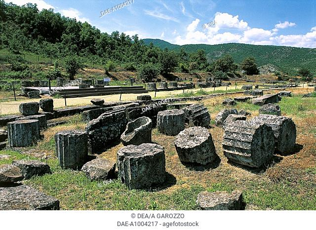 Ruins of the Royal Palace of Palatitsa, Vergina (Unesco World Heritage List, 1996), Greece. Greek civilisation, 3rd century BC