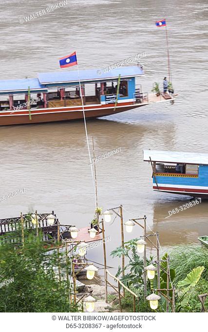 Laos, Luang Prabang, riverboats on the Mekong River