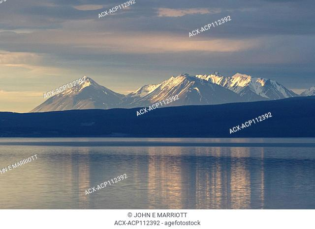 Sunlit mountains on the north side of Kluane Lake, Yukon, Canada