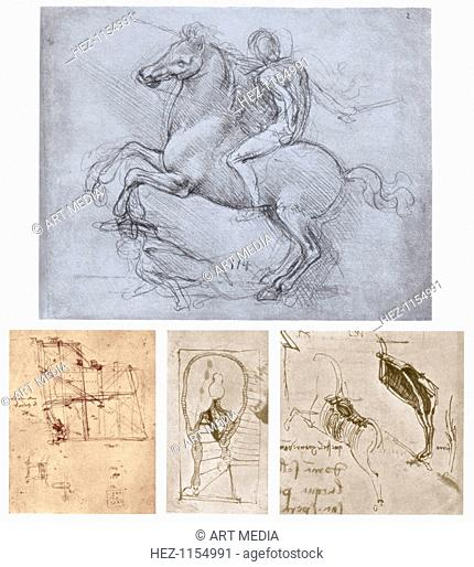 'The Sforza Monument', c1488-1493. Top: study, c1488-1490, from the collection of the Royal Library, Windsor Castle, Windsor