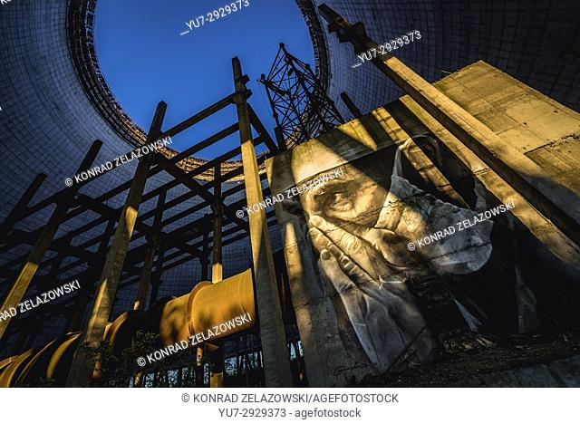 Graffiti in cooling tower of Chernobyl Nuclear Power Plant in Zone of Alienation around the nuclear reactor disaster in Ukraine