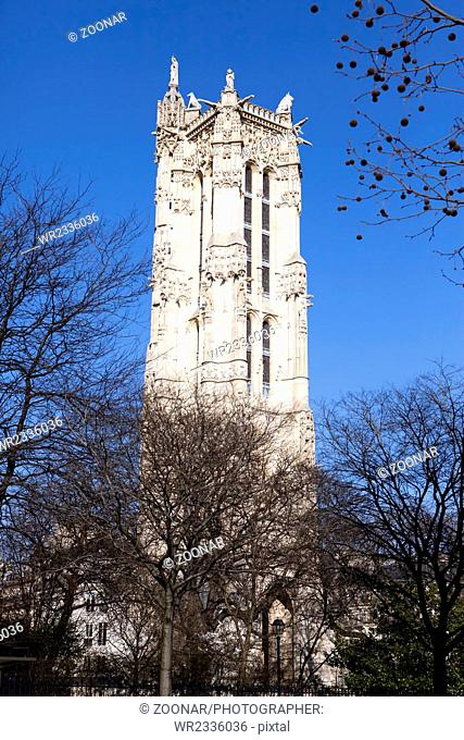 Saint-Jacques Tower on Rivoli street in Paris, Fra