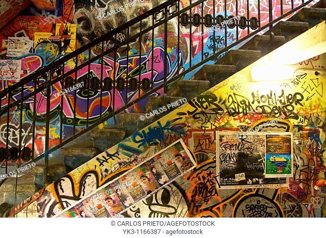 Graffitis inside Tacheles Gallery