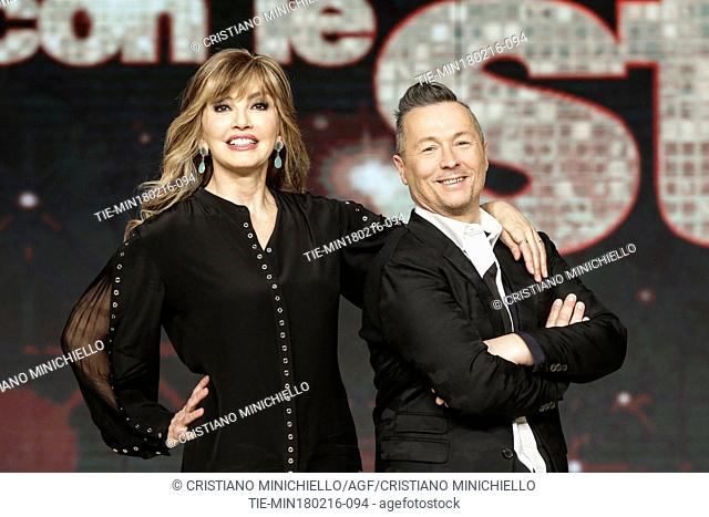 The presenters Milly Carlucci, Paolo Belli during the photo call of tv show ' Dancing with the stars ', Rome, ITALY-18-02-2016
