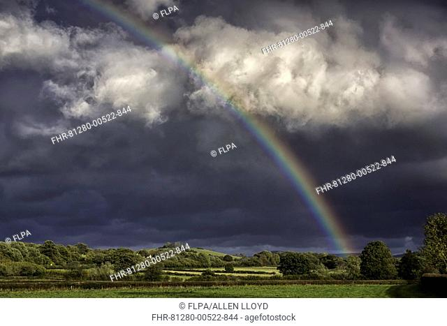 Stormclouds and rainbow over pasture, Brecon Beacons N.P., Mid Wales, October