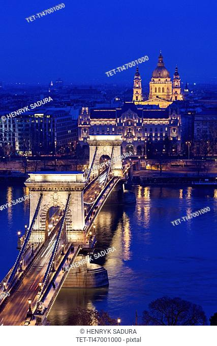 Illuminated Chain Bridge and Saint Stephen's Basilica
