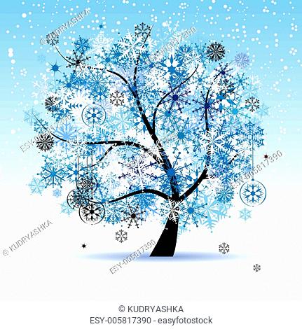 Winter tree, snowflakes. Christmas holiday