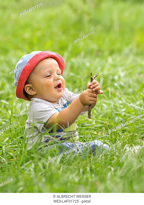 Happy baby boy sitting on a meadow playing with twig