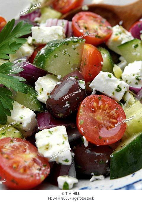 Close up of a bowl of Greek salad