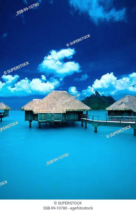 Tourist resort on water, St. Regis Bora Bora Resort, Bora Bora Lagoon, Bora Bora, Tahiti, French Polynesia