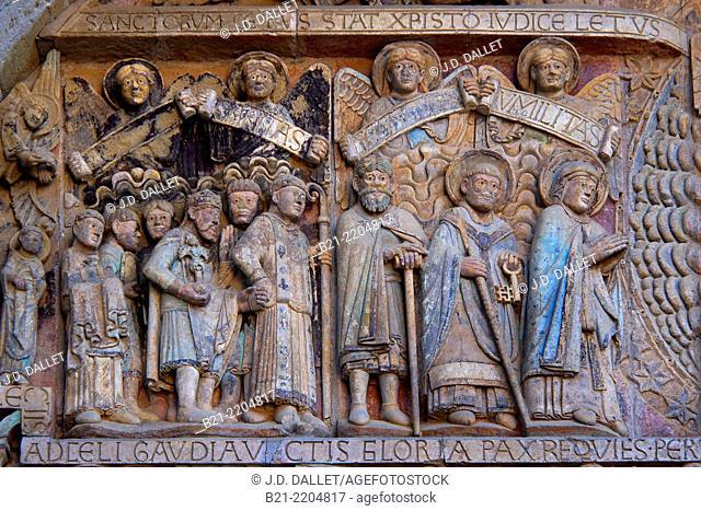 Detail on the tympanum, abbey-church of Saint-Foy, Conques, Way of St James, Aveyron, Midi-Pyrénées, France