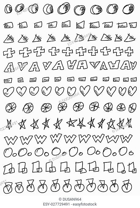 Hand drawn doodle line border set and design element pattern isolated on white
