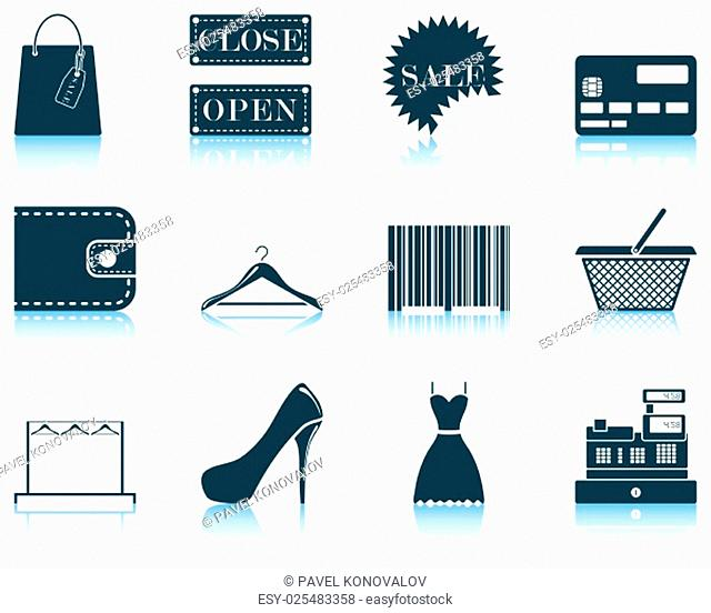 Set of shopping icon. EPS 10 vector illustration without transparency