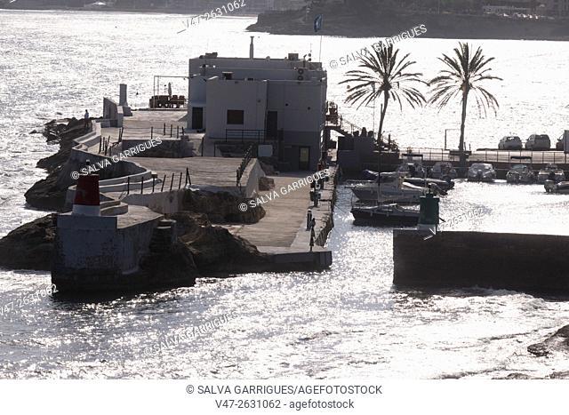 Silhouette backlit port of Calpe, Calp, Costa Blanca, Alicante, Valencia, Spain, Europe