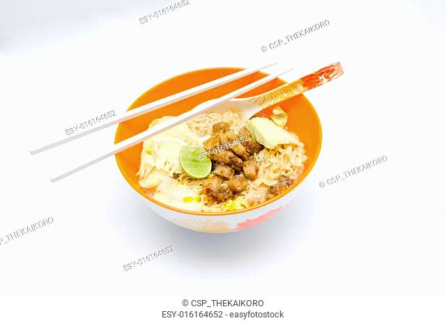 Instant Noodle in orange bowl on the white backgroun