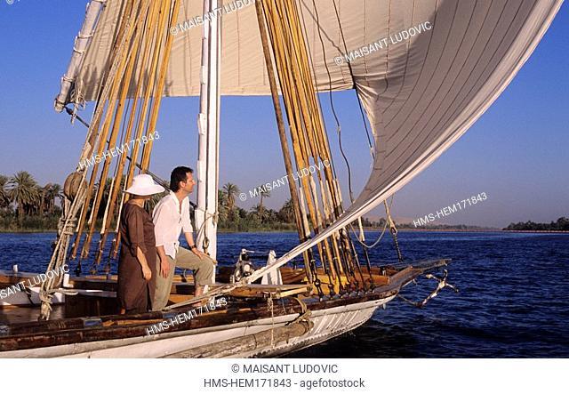 Egypt, Nile Valley, cruise on Nile River, Dahabieh Lazuli cruise ship