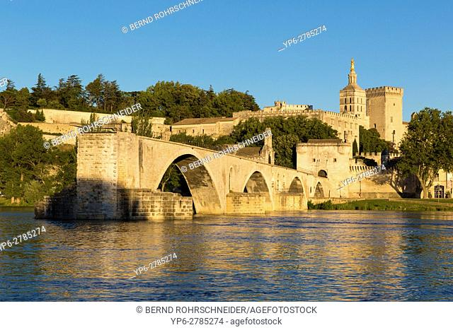 Pont dâ. . Avignon, Papal palace (Palais des Papes) and cathedral Notre Dame, Avignon, France