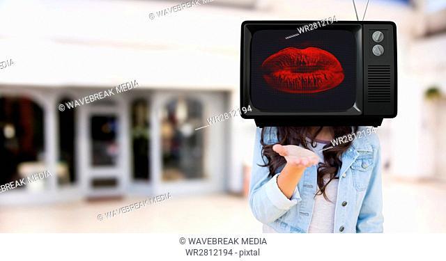 Girl sending a kiss with tv head