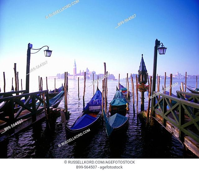Gondolas & Isola Di San Giorgio Maggiore, Venice, Italy