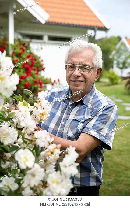 Senior man in garden