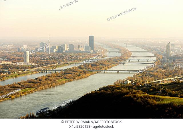 View to Vienna Danube city from mountain Leopoldsberg, Austria, Vienna, Danube City