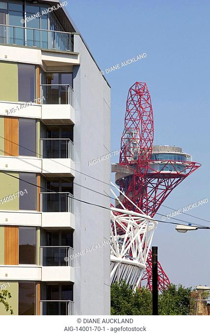 Balcony exterior and Olympic sculpture at 419 Wick Lane, London. New apartments built by Development securities Plc opposite the new Olympic Stadium in London