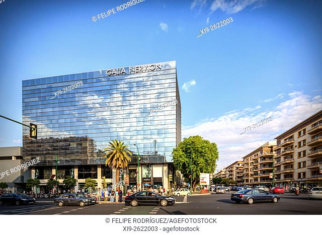 Galia Nervion building, Nervion district, Seville, Spain. Nervion is a new business and shopping district in Seville
