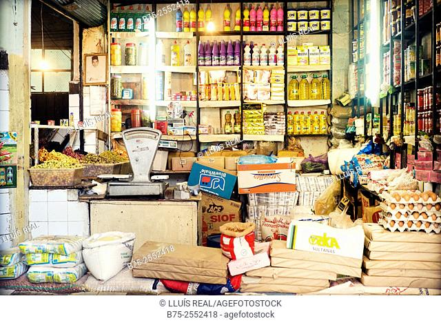 Grocery store La Nouvelle Ville market. Fez, Morocco, Africa