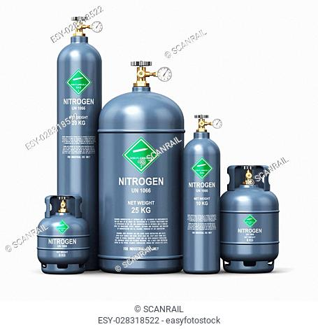 Creative abstract fuel industry manufacturing business concept: 3D render illustration of the set of gray metal steel liquefied compressed natural nitrogen gas...
