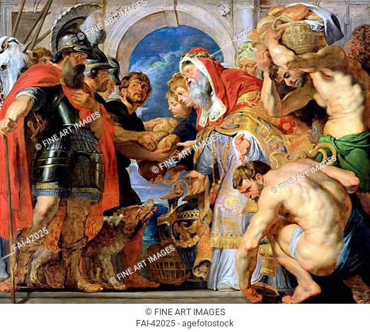 Abraham and Melchizedek by Rubens, Pieter Paul (1577-1640)/Oil on wood/Baroque/c. 1616-1618/Flanders/Musée des Beaux-Arts