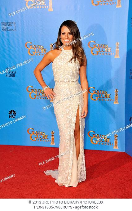 Lea Michele at the 70th Golden Globe Awards at the Beverly Hilton Hotel. January 13, 2013 Beverly Hills, CA Photo by JRC / PictureLux