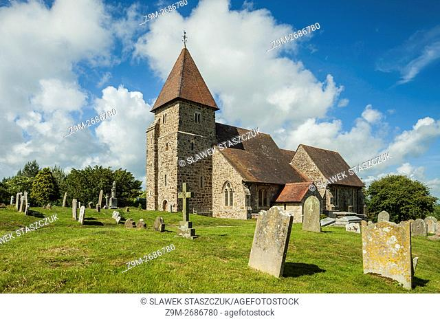 Spring afternoon at St Laurence church in Guestling, East Sussex, England