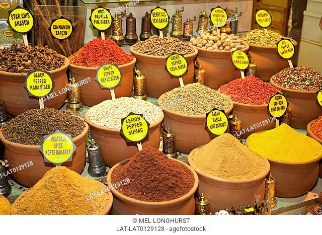 The Misir Carsisi Spice Bazaar is a huge covered market in Eminonu where edible spices in powder and dried form are heaped up and are a feast for the eyes