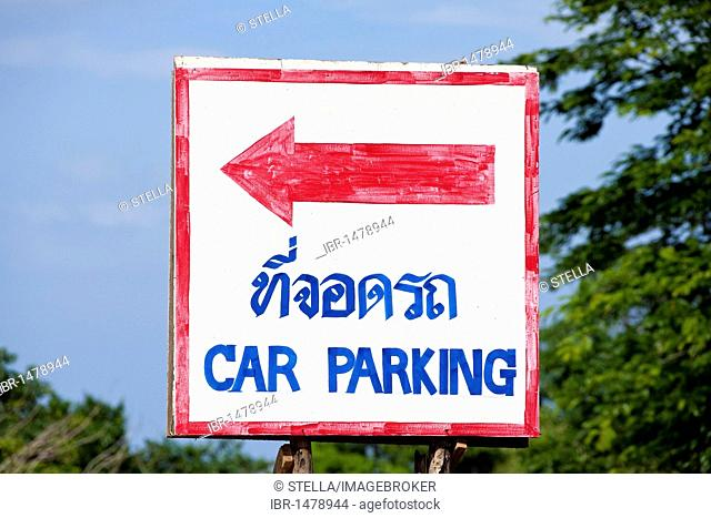 Direction sign to car parking, Thai, Thailand, Asia