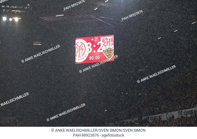 Anzeigetafel with dem Endergebnis, Ergebnis, Fussball 1. Bundesliga,19. matchday, FSV FSV FSV Mainz 05 (MZ) - VfB Stuttgart (S) 3:2, am 20.01