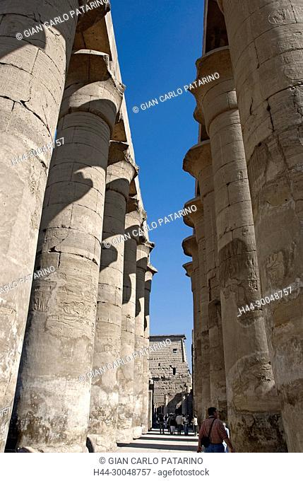 Luxor, Egypt. Temple of Luxor (Ipet resyt): colonnade of the pharaoh Nebmaatra Amenhotep III in the courtyard