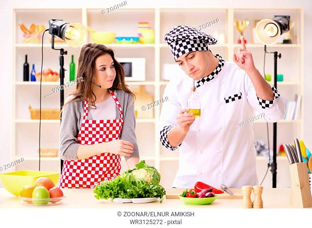 The food cooking tv show in the studio